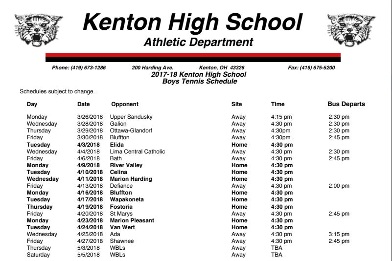 boys tennis schedule
